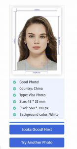 China Visa Photo Preview